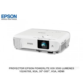 "PROYECTOR EPSON POWERLITE X39 3500 LUMENES, 1024X768, XGA, 30""-300"", VGA, HDMI"