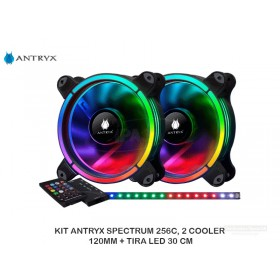 KIT ANTRYX SPECTRUM 256C, 2 COOLER 120MM + TIRA LED 30 CM