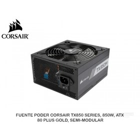 FUENTE PODER CORSAIR TX850 SERIES, 850W, ATX, 80 PLUS GOLD, SEMI-MODULAR
