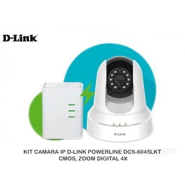 KIT CAMARA IP D-LINK POWERLINE DCS-6045LKT, CMOS, ZOOM DIGITAL 4X