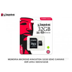 MEMORIA MICROSD KINGSTON 32GB SDXC CANVAS 80R UHS-I SDCS/32GB