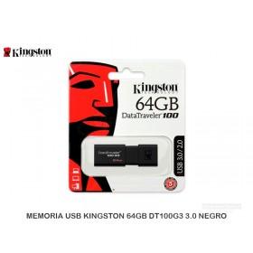 MEMORIA USB KINGSTON 64GB DT100G3 3.0 NEGRO