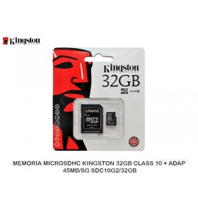 MEMORIA MICROSDHC KINGSTON 32GB CLASS 10 + ADAP 45MB/SG SDC10G2/32GB