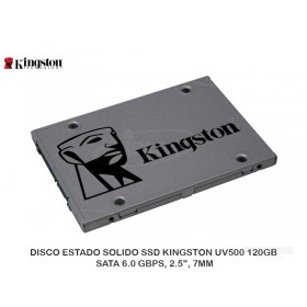 "DISCO ESTADO SOLIDO SSD KINGSTON UV500 120GB, SATA 6.0 GBPS, 2.5"", 7MM"