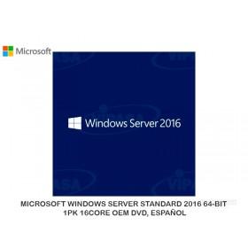 MICROSOFT WINDOWS SERVER STANDARD 2016 64-BIT, 1PK 16CORE OEM DVD, ESPAÑOL