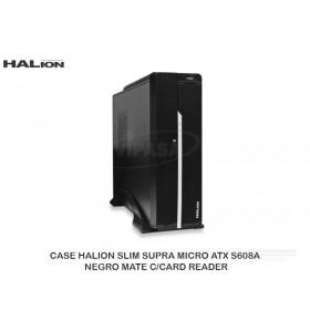 CASE HALION SLIM SUPRA MICRO ATX S608A NEGRO MATE C/CARD READER