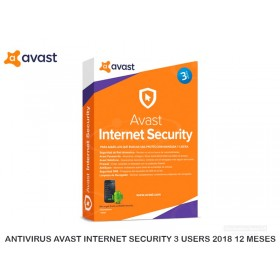 ANTIVIRUS AVAST INTERNET SECURITY 3 USERS 2018 12 MESES