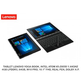 "TABLET LENOVO YOGA BOOK, INTEL ATOM X5-Z8550 1.44GHZ, 4GB LPDDR3, 64GB, W10 PRO, 10.1"" FHD, REAL PEN, DOLBY A.P."