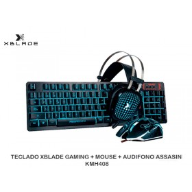 TECLADO XBLADE GAMING + MOUSE + AUDIFONO ASSASIN KMH408