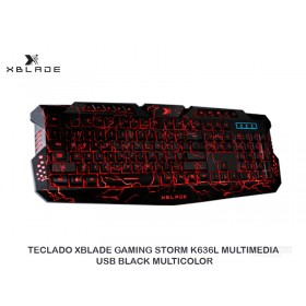 TECLADO XBLADE GAMING STORM K636L MULTIMEDIA USB BLACK MULTICOLOR