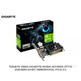 TARJETA VIDEO GIGABYTE NVIDIA GEFORCE GT710, 2GB DDR3 64-BIT, HDMI/DVI/VGA, PCI-E 2.0.