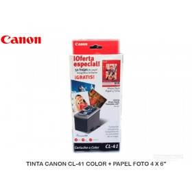 TINTA CANON CL-41 COLOR + PAPEL FOTO 4 X 6""