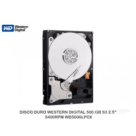 "DISCO DURO WESTERN DIGITAL 500.GB S3 2.5"" 5400RPM WD5000LPCX"