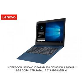 "NOTEBOOK LENOVO IDEAPAD 330 CI7-8550U 1.80GHZ, 8GB DDR4, 2TB SATA, 15.6"" 81DE01GBLM"