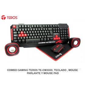 COMBO GAMING TEROS TE-CM3000, TECLADO , MOUSE, PARLANTE Y MOUSE PAD