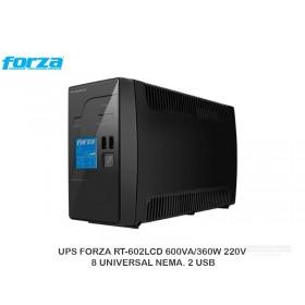 UPS FORZA RT-602LCD 600VA/360W 220V 8 UNIVERSAL NEMA. 2 USB