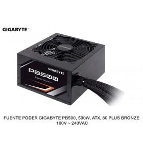 FUENTE PODER GIGABYTE PB500, 500W, ATX, 80 PLUS BRONZE, 100V ~ 240VAC