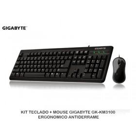 KIT TECLADO + MOUSE GIGABYTE GK-KM3100 ERGONOMICO ANTIDERRAME
