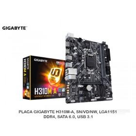 PLACA GIGABYTE H310M-A, SN/VD/NW, LGA1151, DDR4, SATA 6.0, USB 3.1