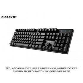 TECLADO GIGABYTE USB 2.0 MECANICO, NUMERICO KEY CHERRY MX RED-SWITCH GK-FORCE-K83-RED