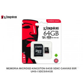 MEMORIA MICROSD KINGSTON 64GB SDXC CANVAS 80R UHS-I SDCS/64GB