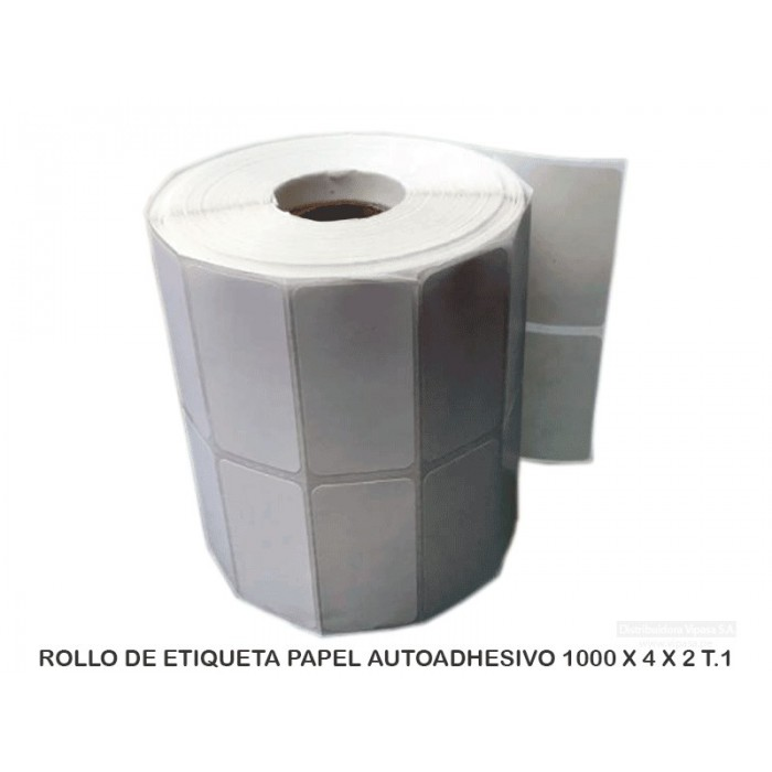 ROLLO DE ETIQUETA PAPEL AUTOADHESIVO 1000 X 4 X 2 T.1