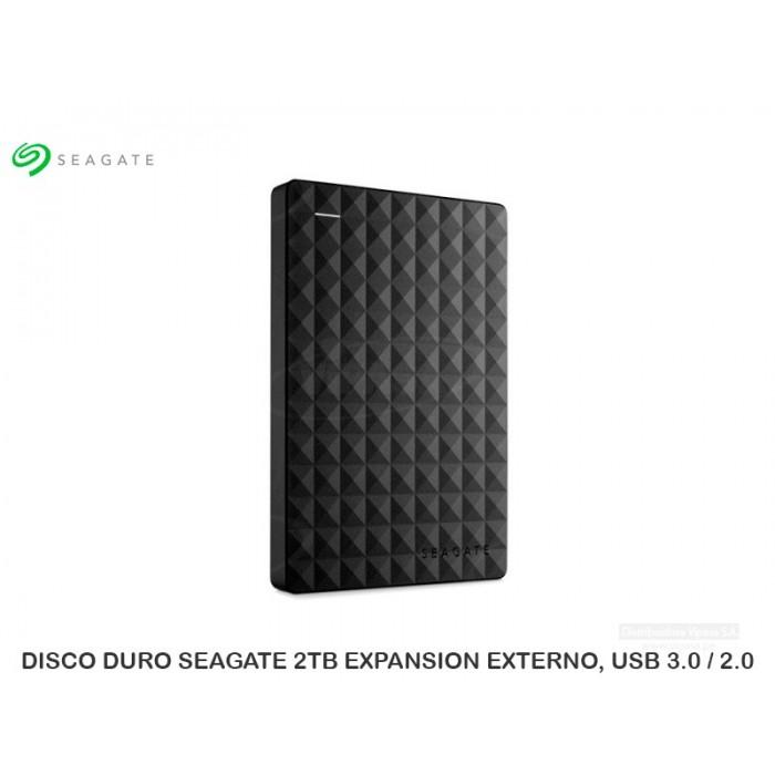 DISCO DURO SEAGATE 2TB  EXPANSION EXTERNO, USB 3.0 / 2.0