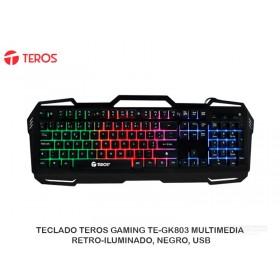 TECLADO TEROS GAMING TE-GK803 MULTIMEDIA, RETRO-ILUMINADO, NEGRO, USB