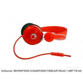 MICROFONO C/AUDIFONO FIDDLER ROJO 1.8MT FD-A6