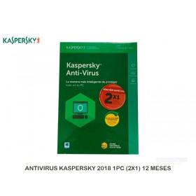 ANTIVIRUS KASPERSKY 2018 1PC (2X1) 12 MESES