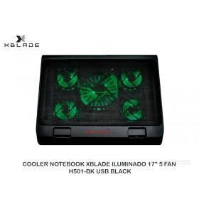 "COOLER NOTEBOOK XBLADE ILUMINADO 17"" 5 FAN H501-BK USB BLACK"