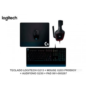 TECLADO LOGITECH G213 + MOUSE G203 PRODIGY + AUDIFONO G230 + PAD 991-000287
