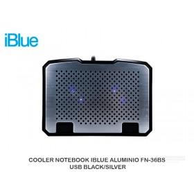 COOLER NOTEBOOK IBLUE ALUMINIO FN-36BS USB BLACK/SILVER