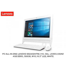 "PC ALL-IN-ONE LENOVO IDEACENTRE 310, CEL- J3355 2.0GHZ, 4GB DDR3, 500GB, W10,19.5"" LED, WHITE"