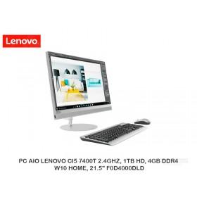 "PC AIO LENOVO CI5 7400T 2.4GHZ, 1TB HD, 4GB DDR4, W10 HOME, 21.5"" F0D4000DLD"