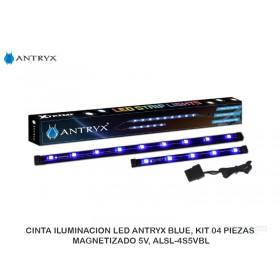 CINTA ILUMINACION LED ANTRYX BLUE, KIT 04 PIEZAS, MAGNETIZADO 5V, ALSL-4S5VBL