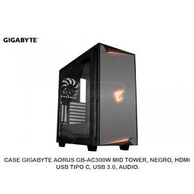 CASE GIGABYTE AORUS GB-AC300W MID TOWER, NEGRO, HDMI, USB TIPO C, USB 3.0, AUDIO.