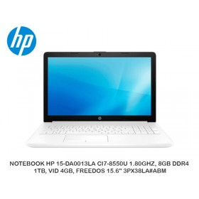 "NOTEBOOK HP 15-DA0013LA CI7-8550U 1.80GHZ, 8GB DDR4, 1TB, VID 4GB, FREEDOS 15.6"" 3PX38LA ABM"