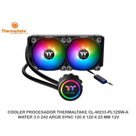 COOLER PROCESADOR THERMALTAKE CL-W233-PL12SW-A, WATER 3.0 240 ARGB SYNC 120 X 120 X 25 MM 12V