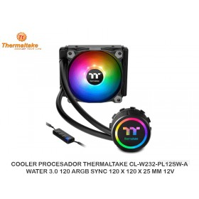 COOLER PROCESADOR THERMALTAKE CL-W232-PL12SW-A, WATER 3.0 120 ARGB SYNC 120 X 120 X 25 MM 12V