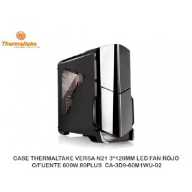CASE THERMALTAKE VERSA N21 3*120MM LED FAN ROJO C/FUENTE 600W 80PLUS CA-3D9-60M1WU-02