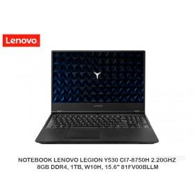 """NOTEBOOK LENOVO LEGION Y530 CI7-8750H 2.20GHZ, 8GB DDR4, 1TB, W10H, 15.6"""" 81FV00BLLM"""