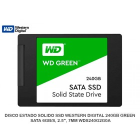 "DISCO ESTADO SOLIDO SSD WESTERN DIGITAL 240GB GREEN, SATA 6GB/S, 2.5"", 7MM WDS240G2G0A"