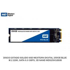 DISCO ESTADO SOLIDO SSD WESTERN DIGITAL 250GB BLUE, M.2 2280, SATA 6.0 GBPS, 3D NAND WDS250G2B0B