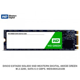 DISCO ESTADO SOLIDO SSD WESTERN DIGITAL 480GB GREEN, M.2 2280, SATA 6.0 GBPS. WDS480G2G0B