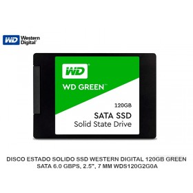 "DISCO ESTADO SOLIDO SSD WESTERN DIGITAL 120GB GREEN SATA 6.0 GBPS, 2.5"", 7 MM WDS120G2G0A"