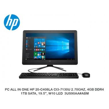 "PC ALL IN ONE HP 20-C408LA CI3-7130U 2.70GHZ, 4GB DDR4, 1TB SATA, 19.5"", W10 LED  3US90AA ABM"