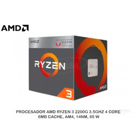 PROCESADOR AMD RYZEN 3 2200G 3.5GHZ 4 CORE 6MB CACHE, AM4, 14NM, 65 W
