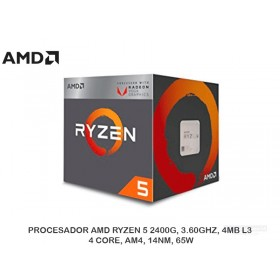 PROCESADOR AMD RYZEN 5 2400G, 3.60GHZ, 4MB L3, 4 CORE, AM4, 14NM, 65W