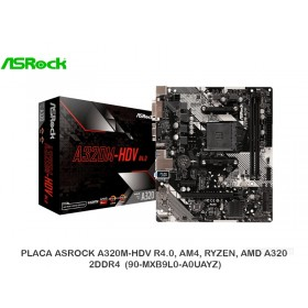 PLACA ASROCK A320M-HDV R4.0, AM4, RYZEN, AMD A320, 2DDR4 (90-MXB9L0-A0UAYZ)